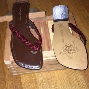 359e73b39209e Liz Claiborne Shoes - Liz Claiborne Ruby Colored Stone Flip Flops
